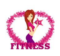 Stock Illustration of fit  woman exercising with two dumbbell weights on her hands