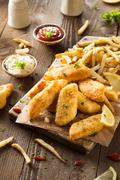 Crispy Fish and Chips Stock Photos