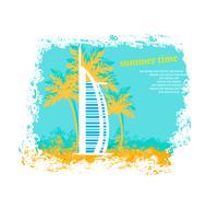 The Burj Al Arab Hotel in Dubai - stock illustration