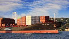 Container chip cruising through Bosphorus Sea Stock Footage