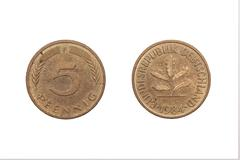 Five Pfennig coin from  Germany 1984 Stock Photos