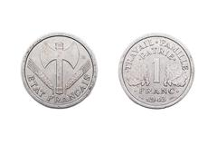 One Franc coin from Wartime France 1943 Stock Photos