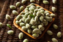 Organic Fresh Green Almonds - stock photo