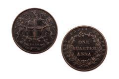 One Quarter Anna coin East India Company 1853 - stock photo
