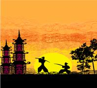 Stock Illustration of Silhouette illustration of two ninjas in duel