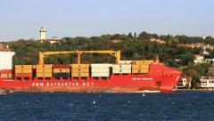 Commercial cargo ship with loaded containers on its route Stock Footage