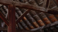 Rafters in the attic of a barn Stock Footage