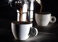 Espresso machine brewing a coffee - stock photo