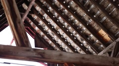 The rafters in the attic of a barn Stock Footage