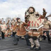 Folk ensemble performance in dress of aborigine of Kamchatka. Russia - stock photo