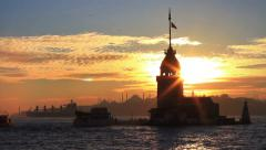 Stock Video Footage of Sunset cityscape with dramatic clouds in orange and yellow color in Istanbul, Tu