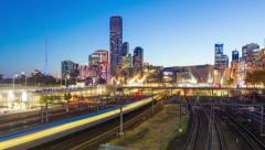 4k motion timelapes video of railway in a modern city Stock Footage