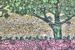 Detail of an ancient mosaic, tree and rose garden of an unknown artist of the Stock Photos