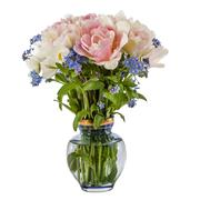 Bouquet of flowers in a vase, tulips and forget-me-not, isolated on white bac - stock photo