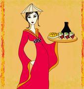 Stock Illustration of beautiful Asian girl enjoy sushi - doodle illustration