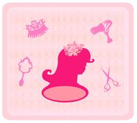 hairdressing salon icons - stock illustration