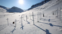 Abandoned cemetery on Spitzbergen. Stock Footage