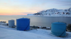 Tanks for the storage of oil. Storage facility on the shores of the Arctic Ocean Stock Footage