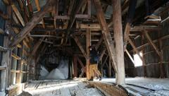 Tourist visiting the old abandoned coal mine Stock Footage