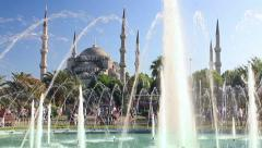 Blue Mosque fountain system in garden Stock Footage