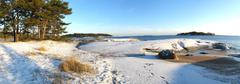 Panorama of wintry archipelago scenery from Helsinki Finland - stock photo