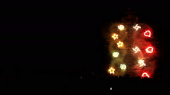 Firework tower burns during village feast. Stock Footage