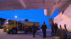 Refuelling of the aircraft in the Svalbard airport at night. Stock Footage