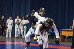 Stock Photo of The boys compete in the Kobudo, Orenburg, Russia