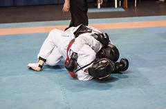 The boys compete in the Kobudo, Orenburg, Russia Stock Photos