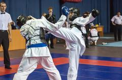 The boys compete in the Kobudo, Orenburg, Russia - stock photo