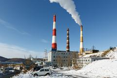 Kamchatka thermoelectric power station, smoking pipes. Petropavlovsk-Kamchatsky - stock photo