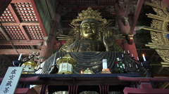 Golden Amida Buddha Statue Todaiji Temple Japan 01 Stock Footage