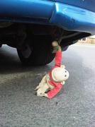 Toy Hanging in There On Car Monkey Optimism - stock photo