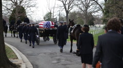 Stock Video Footage of Military Funeral Marching in Cemetery