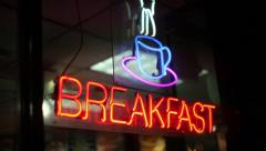 Breakfast, Coffee Cup - Neon Sign, Restaurant, Diner Stock Footage
