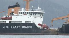 US Coast Guard Naval Ship Close to Wide Stock Footage