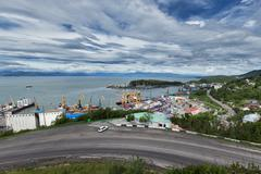 View on commercial seaport Petropavlovsk-Kamchatsky City. Russia, Far East Stock Photos