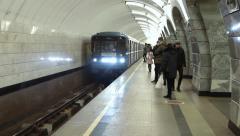 Train arrives at the Moscow metro station Chkalovskaya - stock footage