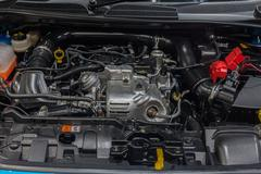 Close up engine of Ford Fiesta - stock photo
