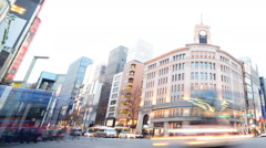 Time Lapse of Ginza Intersection in Tokyo, Japan Day to Night -Pan Right- Stock Footage