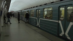Train departure at the Moscow metro station Turgenevskaya - stock footage