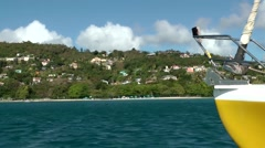 Grenada island Caribbean Sea 041 island shore seen from catamaran Stock Footage