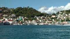 Grenada island Caribbean Sea 045 St. George's city city scape from sea side Stock Footage