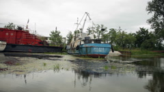 Abandoned shipyard, old boats, rusty ships Stock Footage