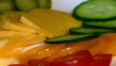 4k pieces – cheese, tomatoes, cucumbers, olives (close up) Stock Footage