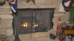 Stone mantle fireplace closeup 4K - stock footage