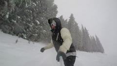 Snowboarder selfie in Colorado trees Stock Footage