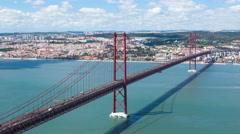 4K timelapse of 25 de Abril (April) Bridge in Lisbon - Portugal - UHD Stock Footage