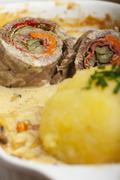 Bavarian meat roulade with dumpling Stock Photos