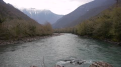 Mountain River in Valley Stock Footage
